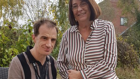 Gwen Taylor and her son Mark who is a resident at The Dell Care Home in Great Cornard which is closi