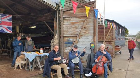 There was musical accompaniment from the �Harbour Lights Trio� band. Picture: GEMMA JARVIS
