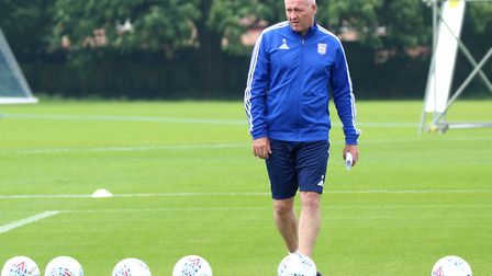 Paul Lambert takes a training session at Playford Road. Photo: Ross Halls