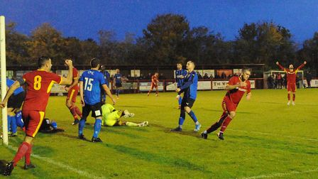 Craig Parker scores for Needham Market to secure a point during their 3-3 draw against Stourbridge.