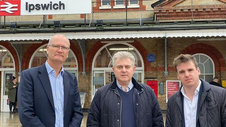 Suffolk County Council leader Matthew Hicks, Brandon Lewis and Tom Hunt Picture: IPSWICH CONSERVATIV