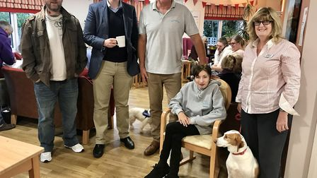 Dr Dan Poulter at the Worry Tree Cafe in Framlingham with Nick Corke, Katrina Clarke-Abbott, Sally S