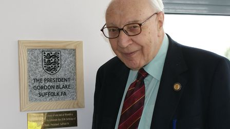 Suffolk FA President Gordon Blake, who has passed away at the age of 88.