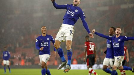 Leicester's Jamie Vardy celebrates scoring his side's ninth goal in their 9-0 win over Southampton.