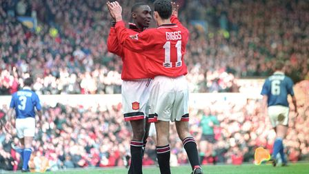 Andy Cole celebrates one of his five goals in Manchester United's 9-0 win over the Blues in March 19