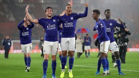 Leicester City's Ben Chilwell and Youri Tielemans celebrate their 9-0 win over Southampton. Picture: