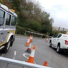 EDF set up barriers and security to stop protestors coming close to the site Picture: RACHEL EDGE