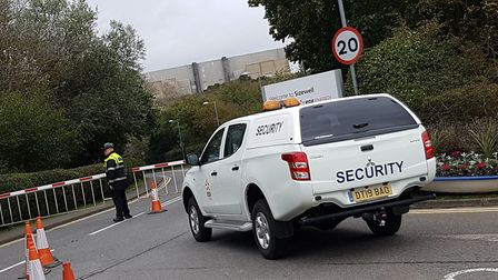 EDF arranged for cars, barriers and security staff to prevent the XR protestors reaching their inten