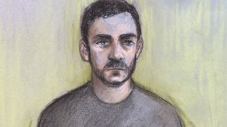 Court artist sketch of lorry driver Maurice 'Mo' Robinson on video-link at Chelmsford Magistrates' C