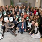 Winners, finalists, sponsors and judges of the 2019 BME Business Awards held at the University of Su
