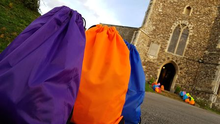The bags are filled with essentials to help people in Suffolk who are homeless Picture: RACHEL EDG