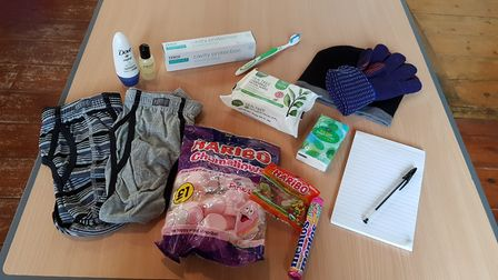 The bags include hats, gloves, underwear and toiletries Picture: RACHEL EDGE