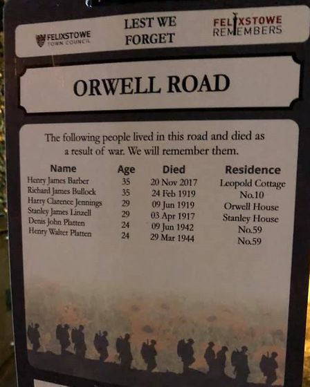 One of the many signs from Darren Aitchison's campaign to remember Felixstowe's fallen Picture: Darr