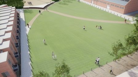 Aerial artist's impression of one of the green spaces earmarked for the former HMS Ganges site in Sh