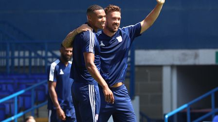 Corrie Ndaba and Luke Chambers pictured during the Ipswich Town Open Day. Photo: Ross Halls