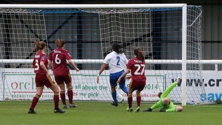 Tia Bailey puts Enfield ahead against Town Women Picture: ROSS HALLS