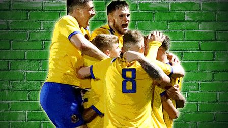 AFC Sudbury celebrate their win over Canvey Island Photo: PAUL VOLLER