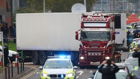 The container lorry where 39 people were found dead inside leaving Waterglade Industrial Park in Gra
