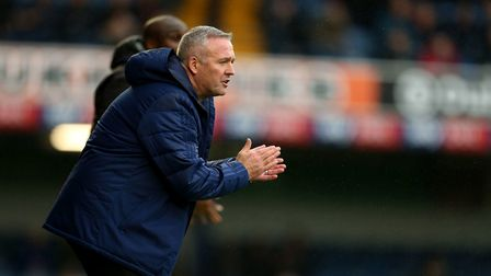 Ipswich Town manager Paul Lambert encourages his players. Photo: PA