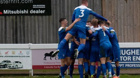 Bury Town celebrate going 2-0 up against Romford. Picture: PAUL VOLLER