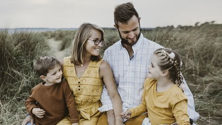 Freya Burnside pictured with her family - mum Kate, dad Oli and brother Spencer. Picture: ANNA LIPSK