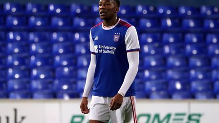 Trialist Gabriel Osho in action for Town U23s against Coventry City at Portman Road Picture: ROSS HA