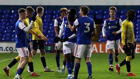 Tyreece Simpson celebrates his goal against Coventry City at Portman Road Picture: ROSS HALLS