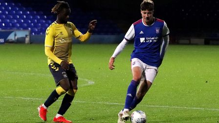 Brett McGavin in action during Town U23s game against Coventry City at Portman Road Picture: ROSS HA