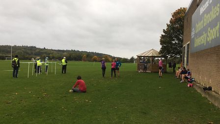 The finish area of the Harcourt Hill parkrun, on the sports field in front of the Brookes University
