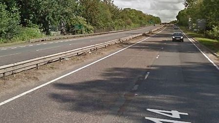The accident happened on the A14 near Bury St Edmunds Picture: GOOGLE MAPS