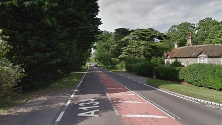 A bus caught fire on the A134 Picture: GOOGLE MAPS