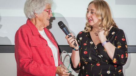 Mary Wain, retired chairwoman of Bawdsey Radar Trust, collecting the Small Museum of the Year Award