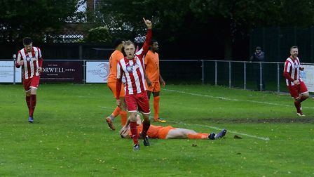 Armani Schaar celebrating Felixstowe and Walton United's third goal - but they would be pegged back