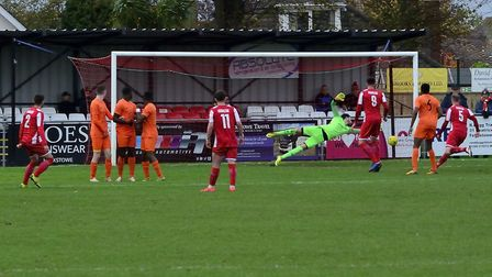 Callum Bennett's free kick puts Felixstowe and Walton United 2-0 up against Brentwood. Picture: DAVE