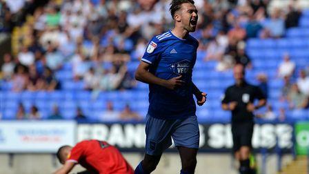 Gwion Edwards celebrates scoring in Ipswich's 5-0 win at Bolton. Photo: Pagepix