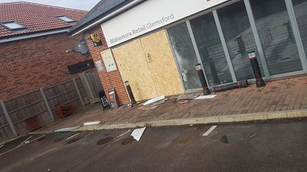 A stolen Land Rover was used to smash through the front of a SPAR shop in Glemsford during an overni