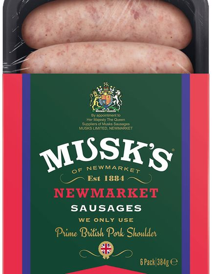 Musk's s Newmarket sausages with Royal Coat of Arms on the packaging Picture: Musks