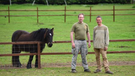 Gary Spencer and Mark Byford at the Field of Dreams Farm at Thurston.. Picture: GREGG BROWN
