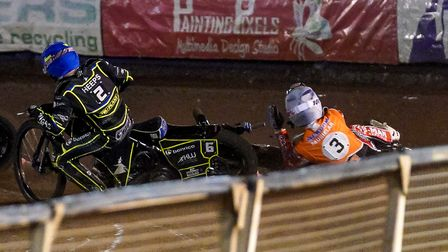 Tobiasz Musielak falls on the outside of Cameron Heeps in heat 10, with Heeps being excluded. Pic