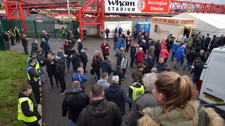 Town fans arrive at the Wham Stadium for the FA Cup clash last season