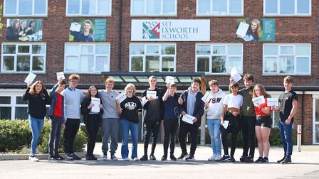 Students at SET Ixworth School on GCSE Results Day this year Picture: GREGG BROWN