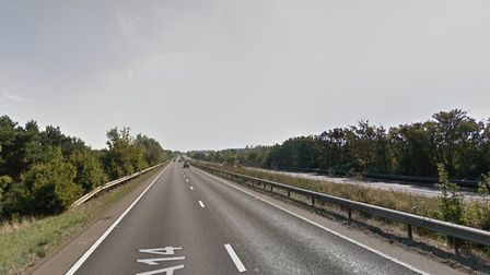 The A14 is partially blocked near Higham due to a broken down vehicle. Picture: GOOGLE MAPS