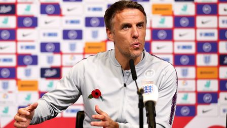 England Manager Phil Neville during the press conference at Wembley Stadium, London.