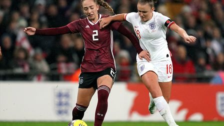 Germany's Sophia Kleinherne (left) and England's Georgia Stanway battle for the ball during the Wome