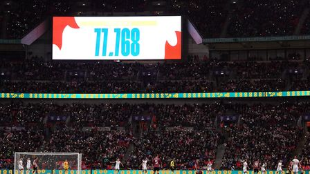 A general view of the big screen showing the record breaking attendance at the Women's International
