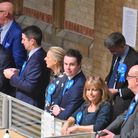 Conservative supporters at the Ipswich count in the Corn Exchange Picture: BRITTANY WOODMAN