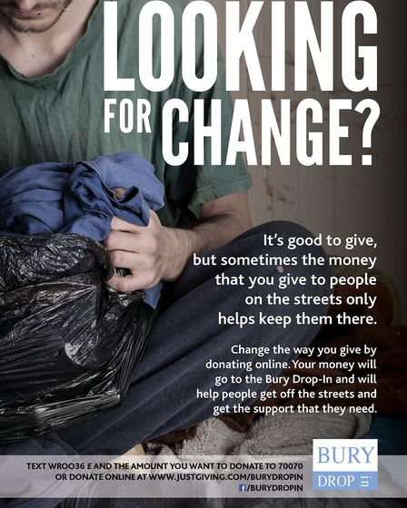 Looking for Change encourages donations to Bury Drop In to support those who are genuinely homeless