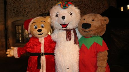 CHristmas characters spreading joy at the light switch on in Bury Picture: CHARLOTTE BOND