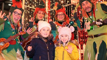 Nancie and Sylvi having a great time at the christmas light switch on Picture: CHARLOTTE BOND