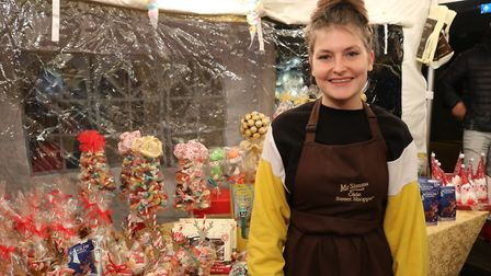 Charlie from The Olde Sweet Shoppe stall at the Bury christmas light switch on Picture: CHARLOTTE B